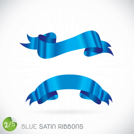 Blue Satin Ribbons Illustration, Icons, Button, Sign, Symbol, Logo with Sticker for Family, Festival Celebration, Baby, Children, Teenager, People