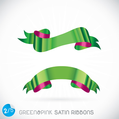 Green   Pink Satin Ribbons Illustration, Icons, Button, Sign, Symbol, Logo with Sticker for Family, Festival Celebration, Baby, Children, Teenager, People Vector