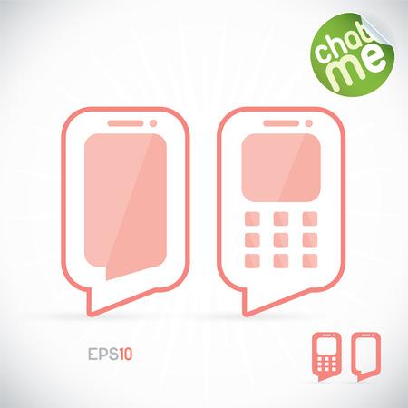 Phone Chat Illustration, Sign, Symbol, Emblem, Logo for Web Design, User Interface, Mobile Phone Vector