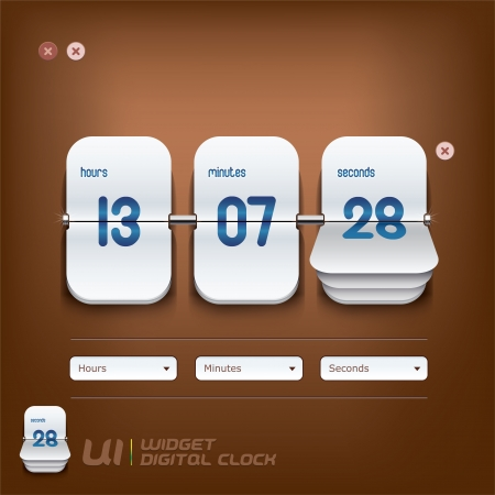 Digital Clock Illustration, Signs, Slider Switch Buttons, Sign, Symbol, Emblem  Vector