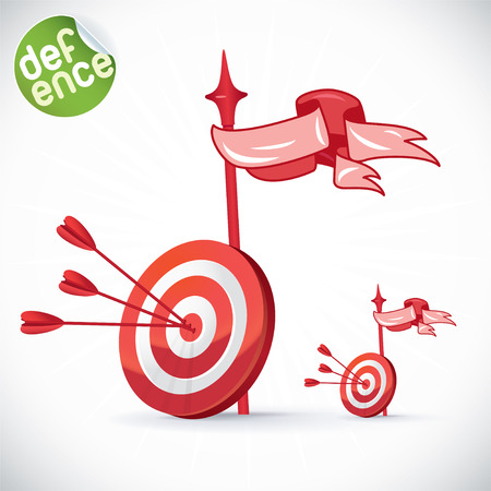 directly: Arrow Hitting Directly In Bulls Eye Illustration, Sign, Symbol, Button, Badge, Icon