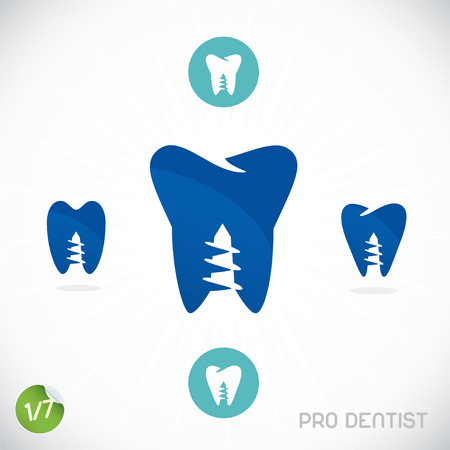 Dentist Symbols, Sign, Illustration, Button, Badge Vector