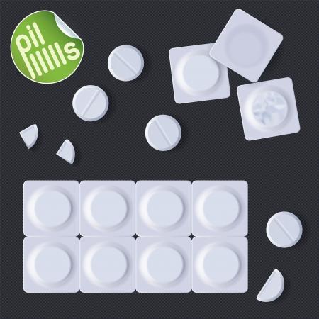 передозировка: Таблетки в блистерной упаковке, знаках, Slider кнопки включения, знак, символ, эмблема Иллюстрация