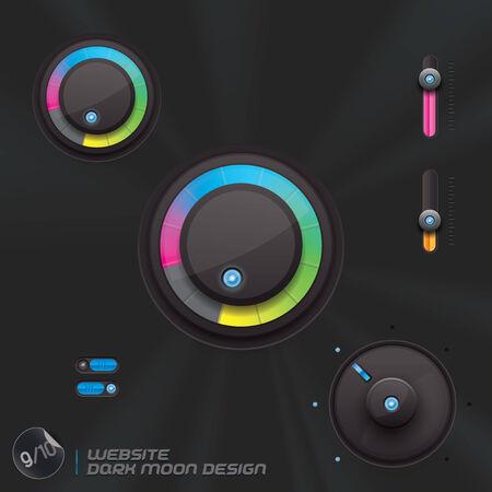 submenu: Website Dark Moon Design, Template, Buttons, Sign, Symbol, Emblem for Web Design, User Interface, Mobile Phone Illustration