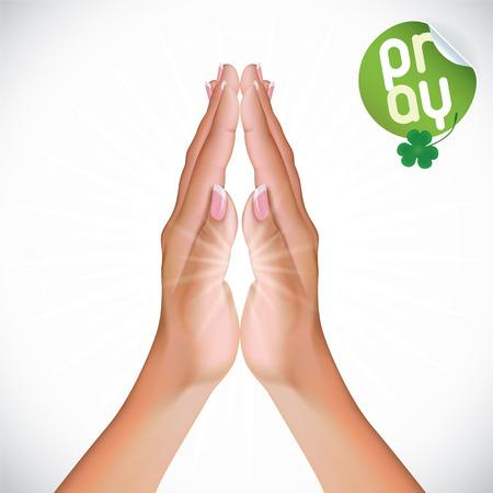manos orando: Vector Mujer Praying Hands Ilustración