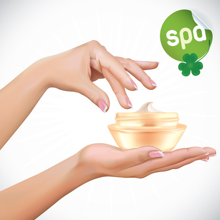 healing touch: Vector Beautiful Woman Hands With Cream Jar Illustration