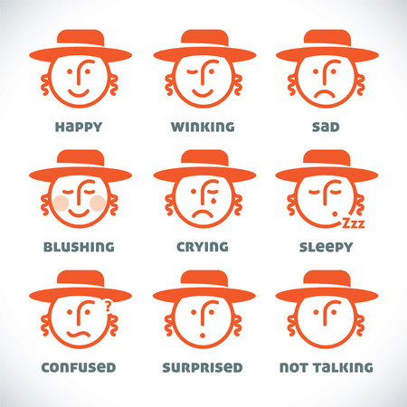 hasid: Vector Smiles Icons, Illustration, Sign, Symbol, Button