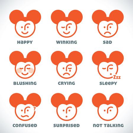 raton caricatura: Vector Smiles iconos, ejemplo, muestra, símbolo, botón