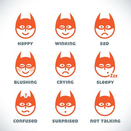 batman: Vector Smiles Icons, Illustration, Sign, Symbol, Button