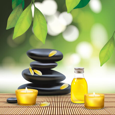 Vector Beautiful Spa Composition With Zen Stones
