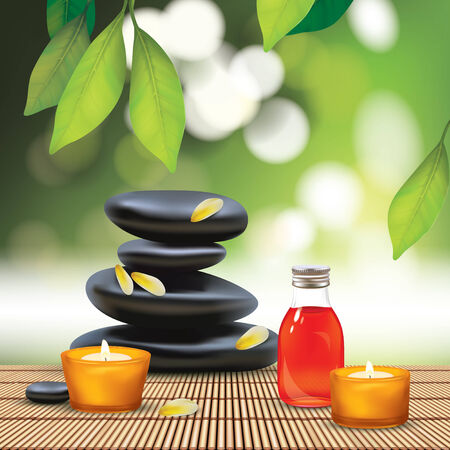 Vector Beautiful Spa Composition With Zen Stones Vector