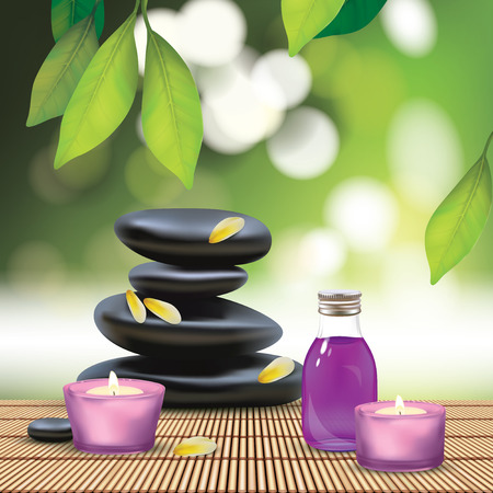 spa candle: Vector Beautiful Spa Composition With Zen Stones