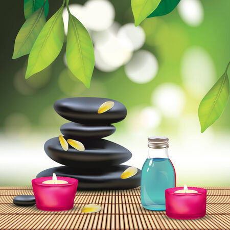 ayurveda: Vector Beautiful Spa Composition With Zen Stones