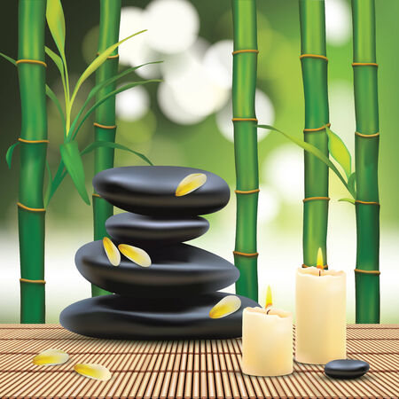 bamboo mat: Vector Beautiful Spa Composition With Zen Stones
