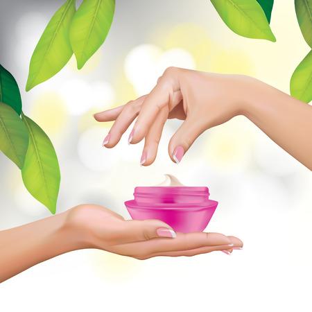 feel good: Vector Beautiful Woman Hands With Cream Jar Illustration