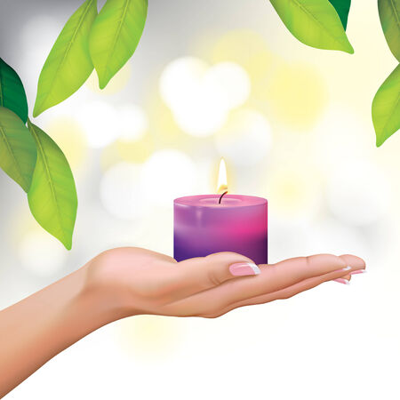 natural therapy: Vector Beautiful Woman Hand Holding Candle Illustration