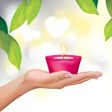 feel good: Vector Beautiful Woman Hand Holding Candle Illustration