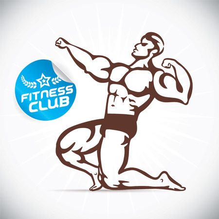 sexy muscular man: Attractive Bodybuilder illustration Illustration