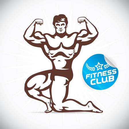 cuerpo entero: Ilustración Bodybuilder Atractivo