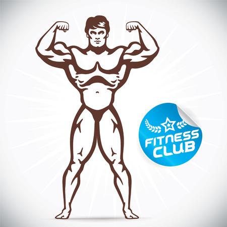 cuerpo completo: Ilustración Bodybuilder Atractivo