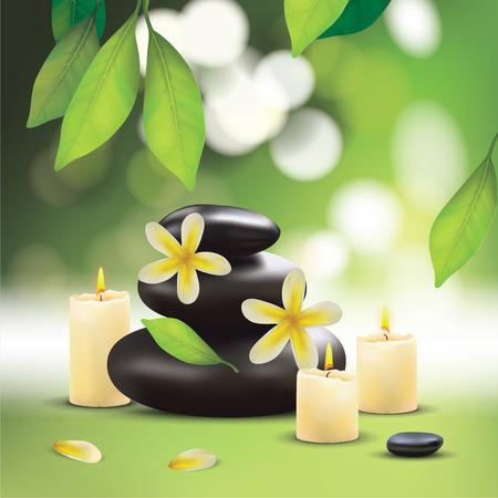 zen stones: Spa Composition With Zen Stones Illustration