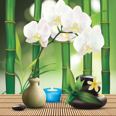 white candle: Spa Composition With Zen Stones and Orchid Illustration