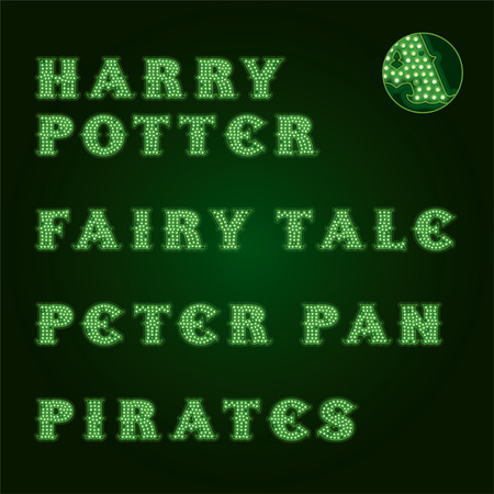 potter: Lamp Light Titles. Dark Green Background Illustration
