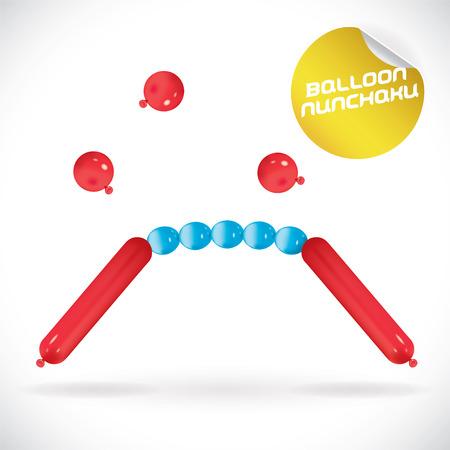 nunchaku: Glossy Balloon Nunchaku Illustration