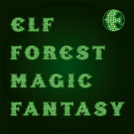 titles: Lamp Light Titles. Dark Green Background Illustration