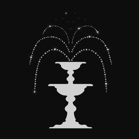 abstract magic fountain with diamonds, glowing effects, shine on a black background