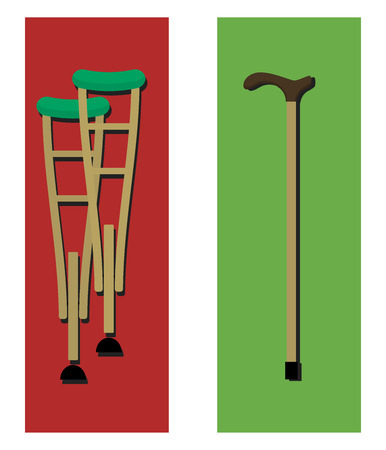 gait: crutches and a cane. Illustration in a flat design.