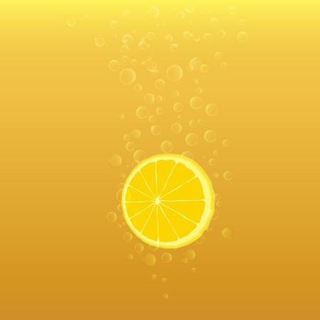 illustration of slices of lemon with bubbles on yellow-orange background