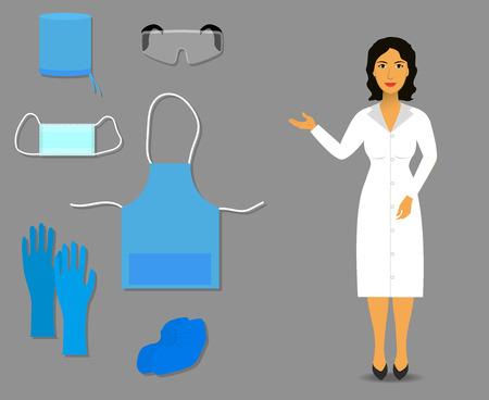 Verpleegkundige toont medische kleding en accessoires voor werk Vector Illustratie