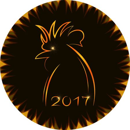 contour (silhouette) of rooster in fiery frame