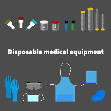 surgical glove: disposable medical equipment, tools and work clothes Illustration