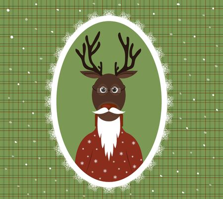 illustration of an elderly stag with a beard, glasses and a cardigan in a patterned frame