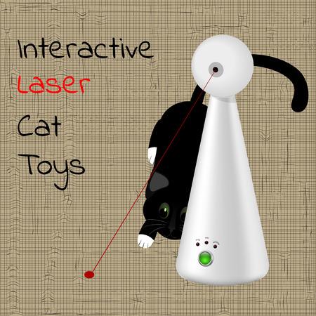 interactive laser toy for cats and a black cat in the background Illustration