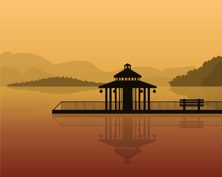 landscape - silhouette of a house on a background of mountains, sky with reflection in water.
