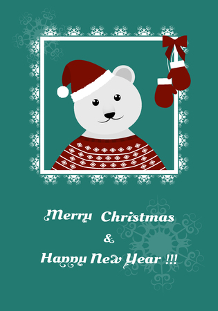 bear berry: polar bear in a red jacket and cap openwork frame on a greeting card