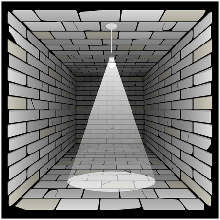 brick box in perspective. 3d room with a light bulb on the ceiling and lighting Векторная Иллюстрация