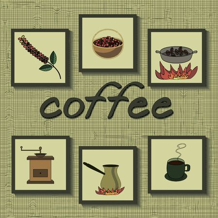 cultivation: coffee set. stages of coffee process from grain growing to drink