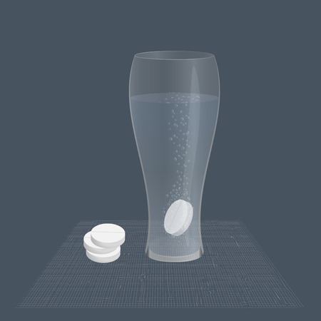 effervescent tablet in a glass of water