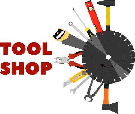 beeldgereedschap voor constructie en reparatie in de vorm van de gereedschapswinkel
