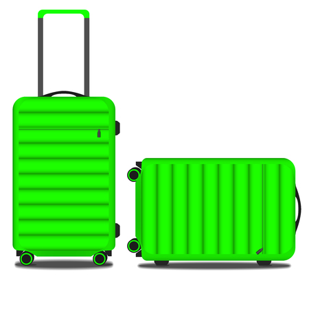 light green two suitcases