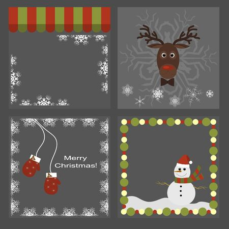 mittens: set of Christmas icons - deer, mittens, snowman, snowflakes