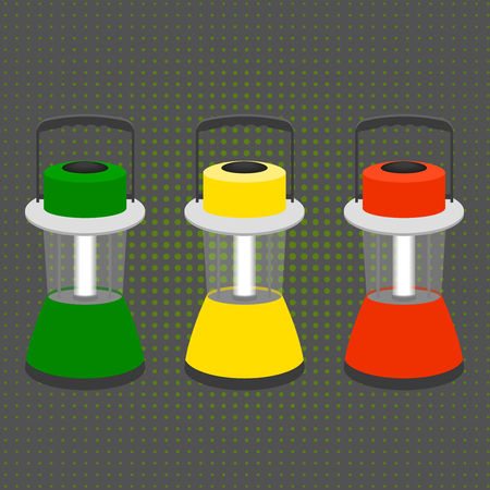 flashlights: three large desktop flashlights in the colors of a traffic light