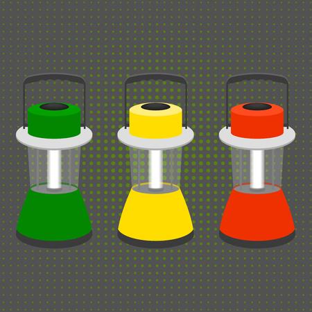 flashlights: three large desktop flashlights in the colors of a traffic light