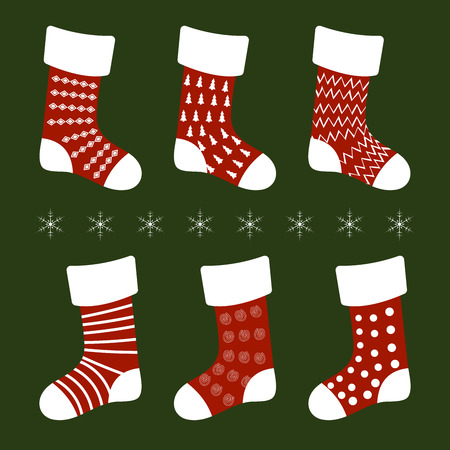 vector illustration red Christmas socks with different patterns on a green background