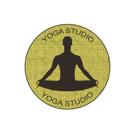lotus position: a man in the lotus position. yoga studio. vector illustration Illustration