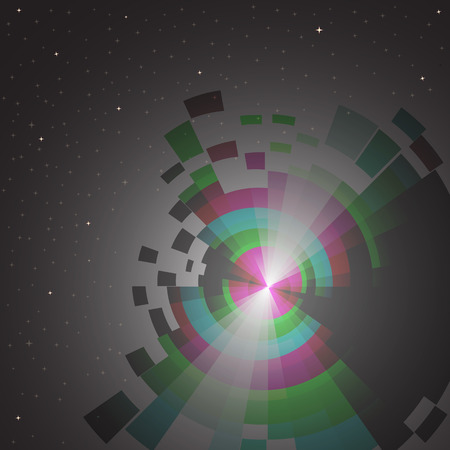 fission: abstract space background with spectrum and stars Illustration